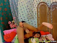 Tranny Penetrates her Ass while Masturbating her Cock