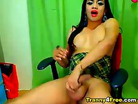 Horny Tranny Masturbating her Cock