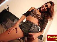 Thai petite Tgirl masturbates
