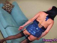 Stockings tranny jizzed