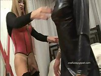 Horny crossdresser Nun Zoe Fuck Puppet takes shemales creamy load in her slutty mouth