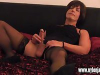 Hot Milf jerks off horny crossdressers big cock after slow sexy foot wank