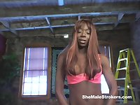 Lisa Cage jerks her tool