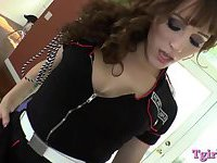 Hot tranny in uniform fucked in the ass