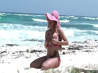 Karla Carrillo At The Beach Flashing Her Tits And Big Cock