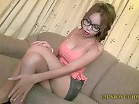 Asian tranny chick in glasses sucks