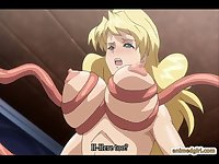 Two bustiest anime shemale caught and brutally fucked by tentacles