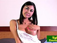 Pretty ladyboy Tongta rubs her butthole