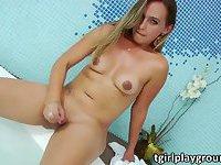 Bikini Tgirl Caroline Ponciano masturbates her dick on pool side