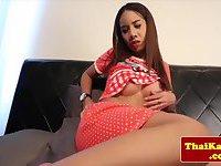 Teen thai Kathoey rubs her gaping butthole