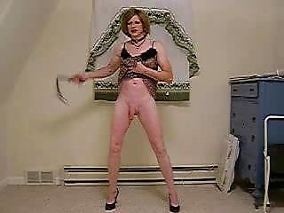 Fetish Solo Shemale Spanking Herself