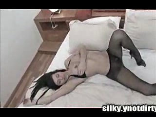 Petting through pantyhose drives a tranny crazy
