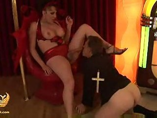 Dirty Tgirl drills a priest