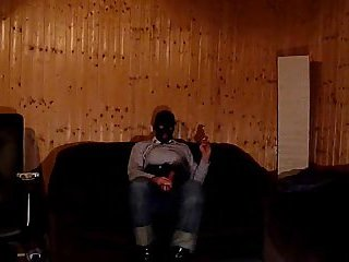 Transsexual In Mask Beating Off Bondaged Dick