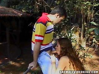 Brazilian flat chested trans enjoys outdoor fun