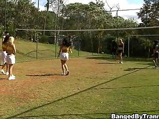 Sport orgy with a fast Tgirls