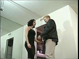 Blond chap cums on a hot shemale
