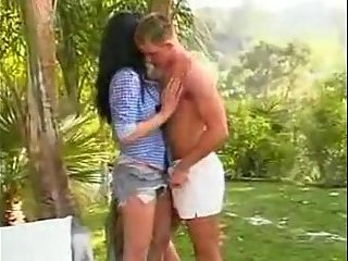 Pretty shemale and guy outdoor fun