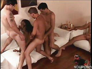 Six lovers for one small tits shemale in fantastic hot orgy