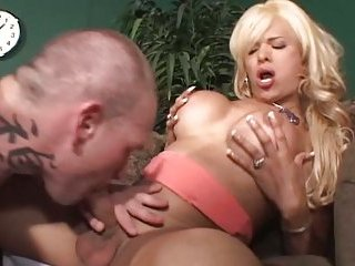 Gorgeous Blonde TS In Anal Jazzing