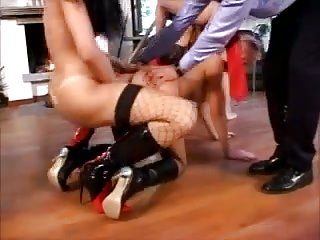 Brunette Shemale Takes Part In Orgy