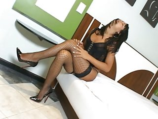 Naughty Shemale In Stockings Rammed & Jizzed