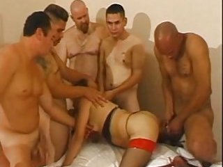 Trans Babe Analed In Gangbang