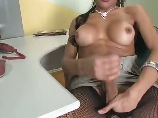 Really hot shemales stroking their cocks