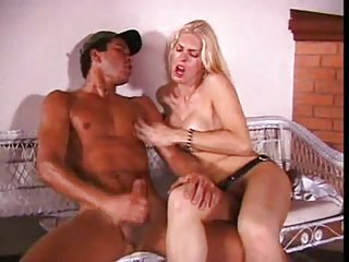 Guy bonked by blonde Tgirl