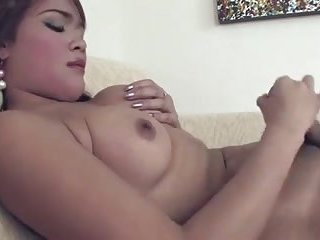 Sweet tgirl playing with sex toys