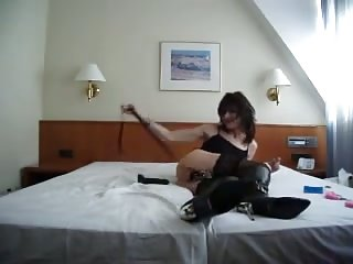 Sweet Princess goes wild on hotel bed
