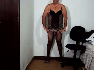 Mature crossdresser masturbation