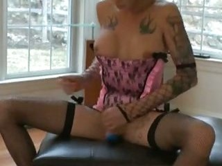 Tattooed Morgan in lingerie masturbates
