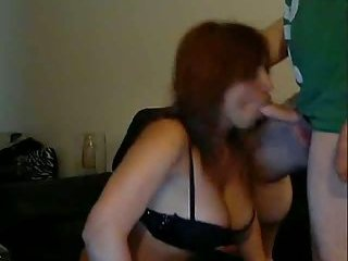 Horny busty TS fucks a john and sucks him off