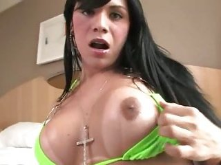 Beauty jerking off her huge penis hard