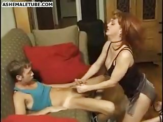 Strict tranny drills a slim boy