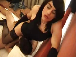 Sweet Crossdresser in Black Gets Anal