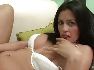 So busty brunette lover for a blonde latina Tgirl