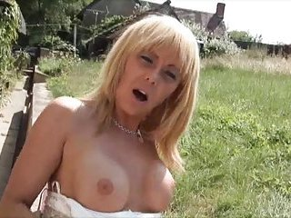 Titty blonde cock wanking
