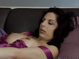 Pretty lingeried TS milf plays with a stud