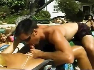 Poolside orgy with naked Tgirls