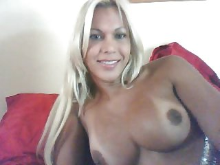 Adorable Italian blonde jerking her big dick and cumming on cam