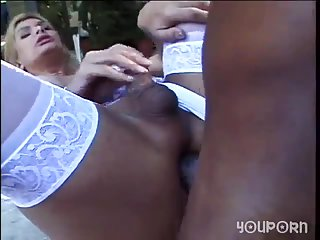Blonde TS gets big black cock