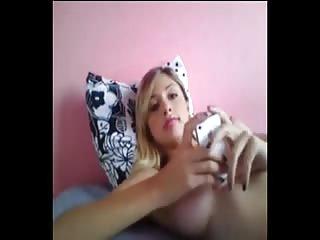 Busty blonde wanking on webcam