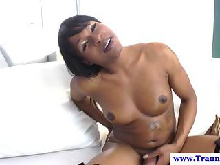 Ebony shemale tranny and her hot climax