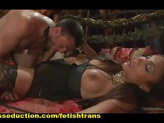 Tranny Nails a Sexy Guy so far up His Ass, Her Cock can be Seen in Between his Tonsils
