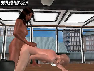 3D ebony tranny vixen fucking a stud in the ass